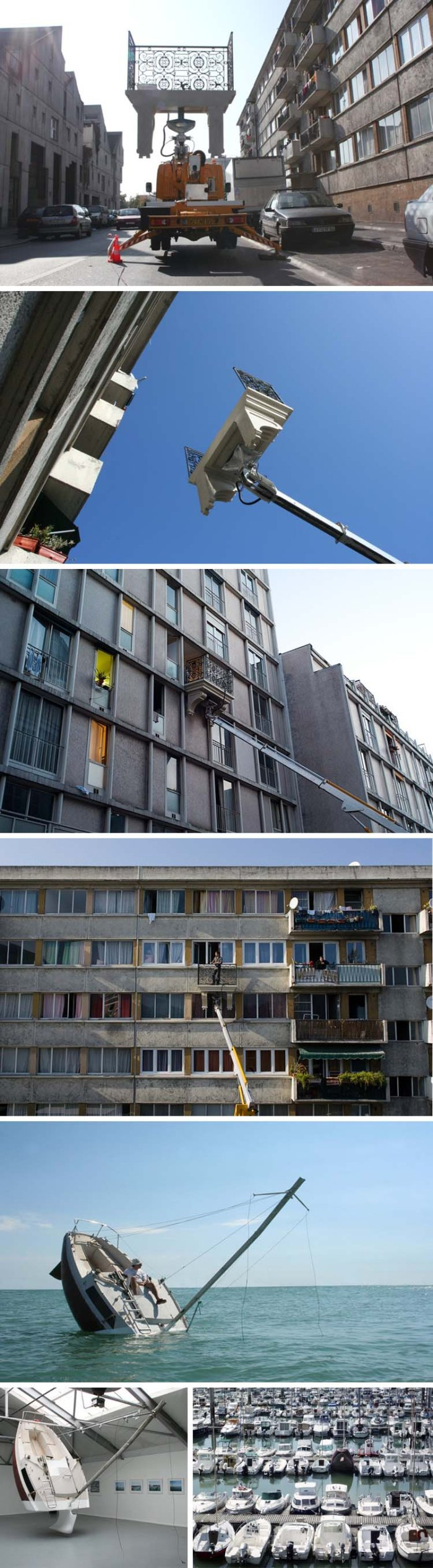Humorous contemporary French sculpture and installation art. Balcony that attaches to all facades with boom. Street art. Julien Berthier. Fun.