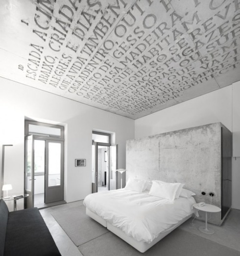 Typography in Architecture, Casa do Conto in Porto by PedraLiquida Architects, Architypeture, Letters on ceiling