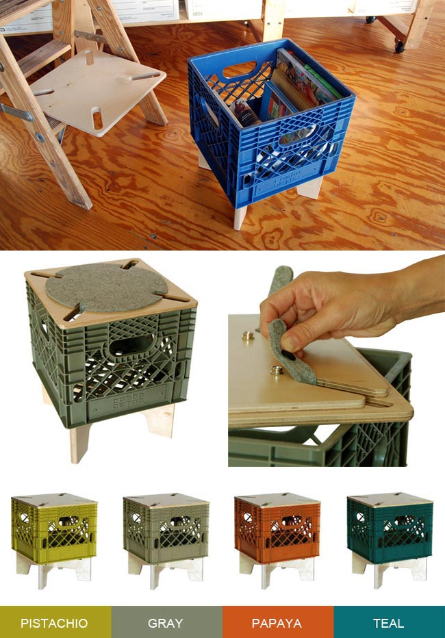 crate stool, repurposed milk crate, xtool, combo colab, upcycled furniture, kickstarter project