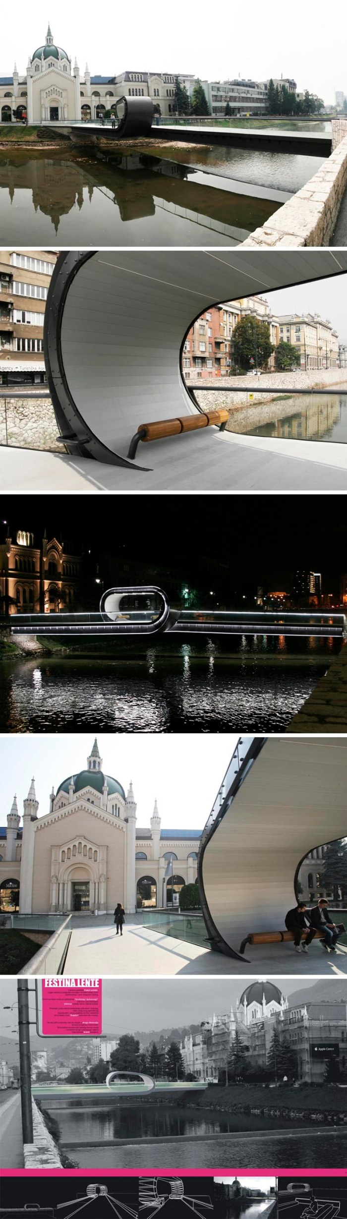 Looping bridge at the Academy of Fine Arts in Sarajevo, Bosnia, Competition prize by three industrial (product) designers Adnan Alagic, Bojan Kanlic and Amila Hrustic, cool pedestrian bridge design