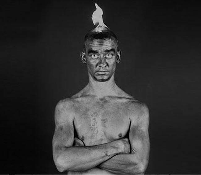 Fred Cray Photographer, set on fire self-portrait, black and white self portraits
