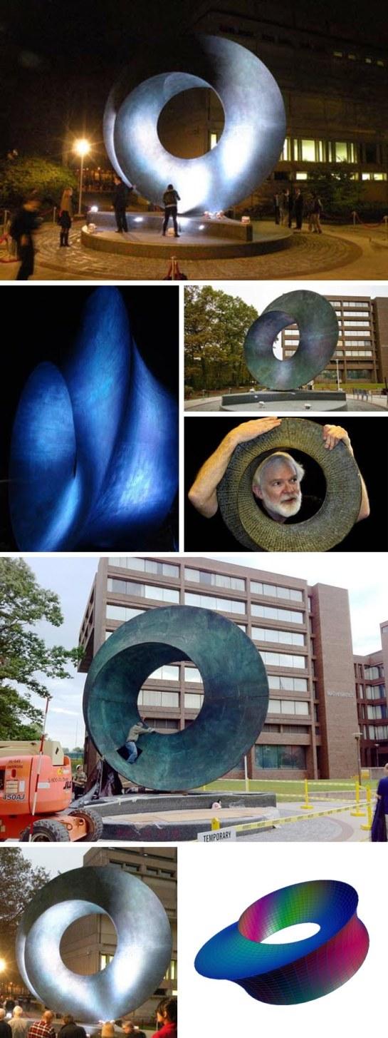 Cool Mathematical sculpture at Stony Brook University, Helaman Ferguson, Umbilic Torus