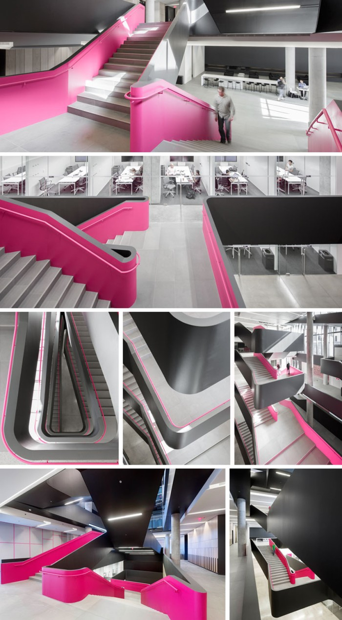 Rotman School of Management Expansion cool staircase with pink accents, Dramatic stairs, KPMB architects, Architecture in Toronto