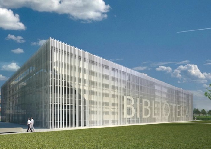 Typography in Architecture, Library by manfredinicoletti Architects, Architypeture, Letters on facade
