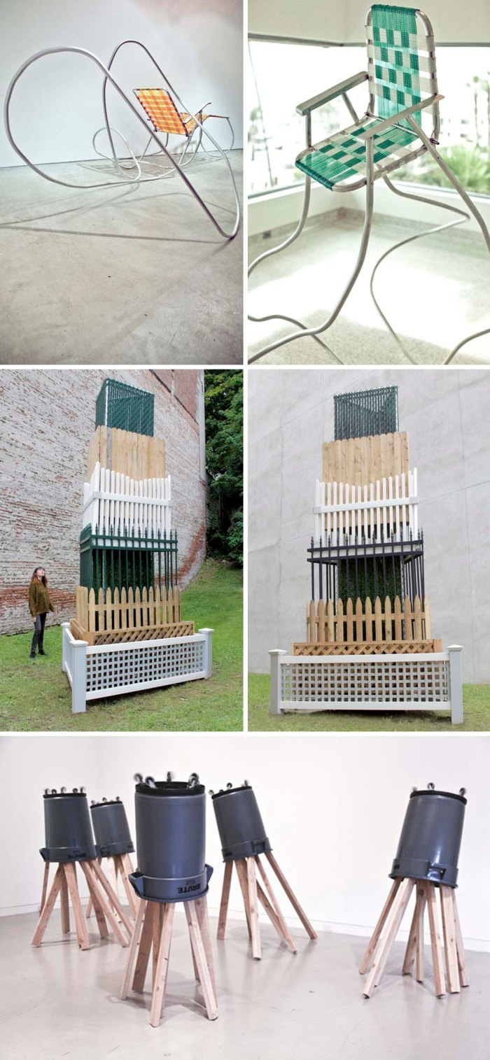 lawn chair sculptures by Andy Ralph, Suburban lawn objects as sculpture, contemporary sculpture and art