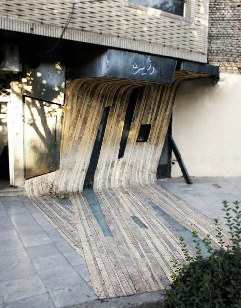 Unique bent wood facade in Iran, Dayereh Snack Bar, Circle Snack bar by Farshad Mehdizadeh, cool facade design