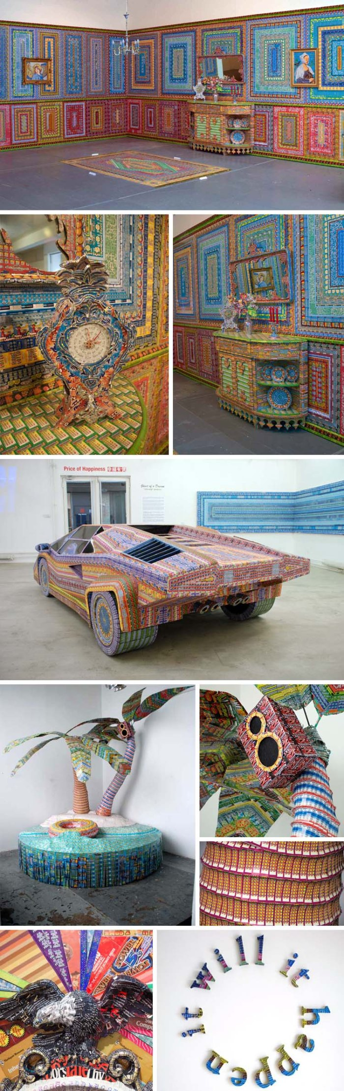 ghost of a dream, collages made of lottery tickets and romanc novel covers, cool art, art installations