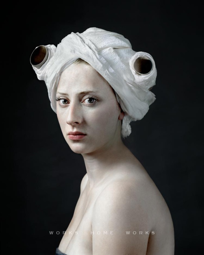 Hendrik Kerstens Paul Pictures, Dutch Master style contemporary photographs with humorous headdresses