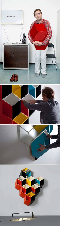 cool storage system by Norweigian designer Bjørn Jørund Blikstad, Imeüble, 3d shelving system that looks flat