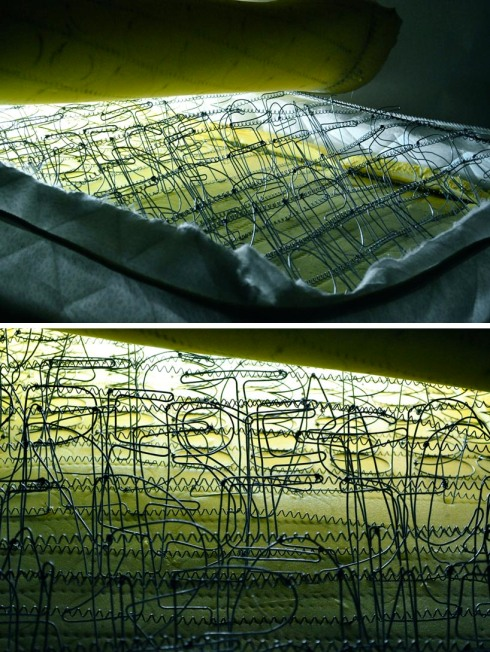 Cool light installation by Jad k. Melki, mattress, lights, springs and wires shaped as type