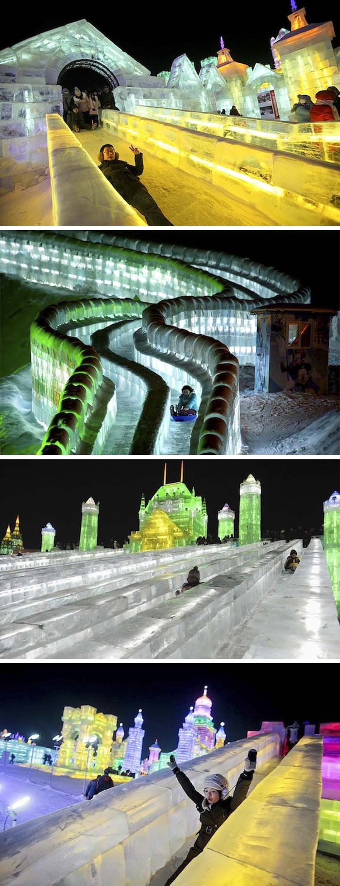Harbin Ice Festival 2013 in China, Ice slides lit with LED's, Ice Castles with slides, cool and fun