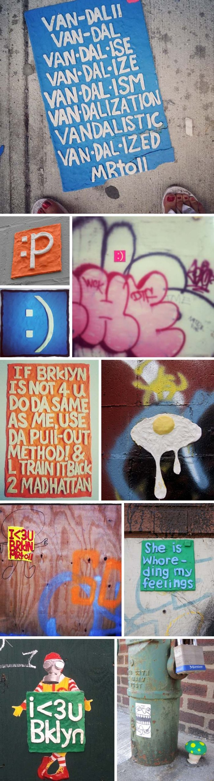 MrToll, Brooklyn street art made out of clay, clay sculpture and poetry street art by Mr.Toll, Graffiti