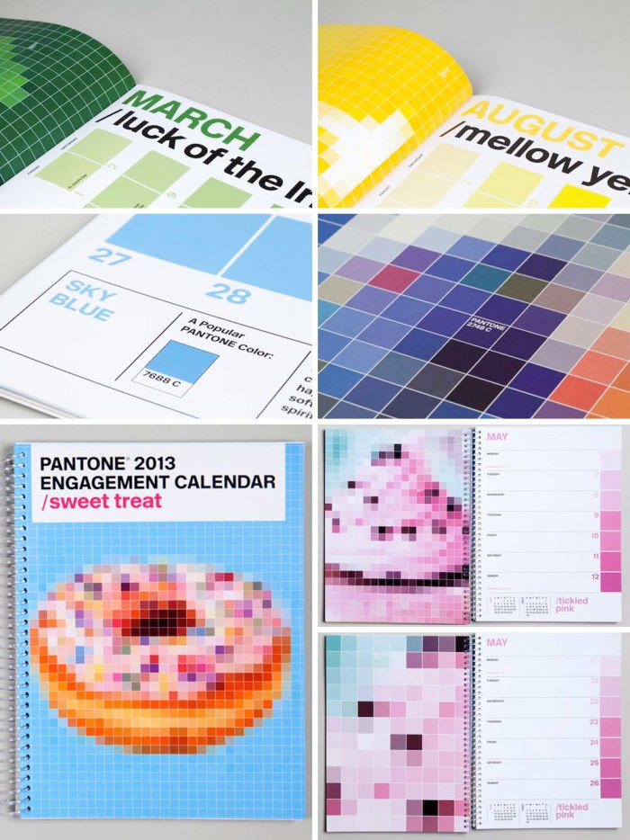Pantone 2013 Wall and Engagement Calendars designed by Pentagram, Eddie Opara and Brankica Harvey, Abrams. Pixelated images created with pantone color chips