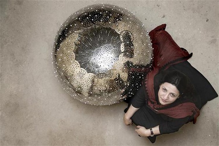 Contemporary Pakistani art, Adeela Suleman, found art sculpture and helmets