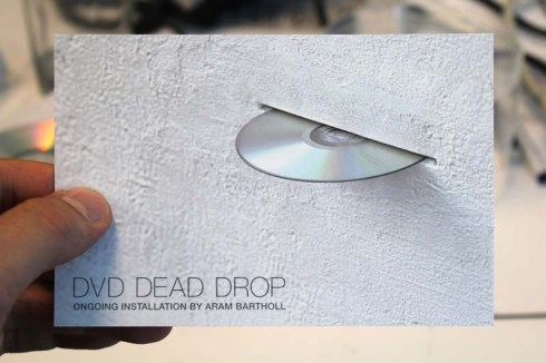 DVD Dead Drop at Museum of Moving Image, NYC, Aram Bartholl, interactive art
