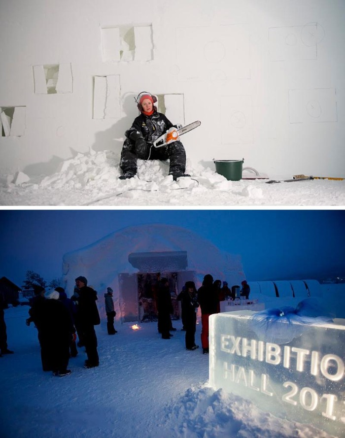 Icehotel light and photo exhibit, A Warm Story about a Cold-Place_John-Pettersson & Anna-Öhlund, cool installation