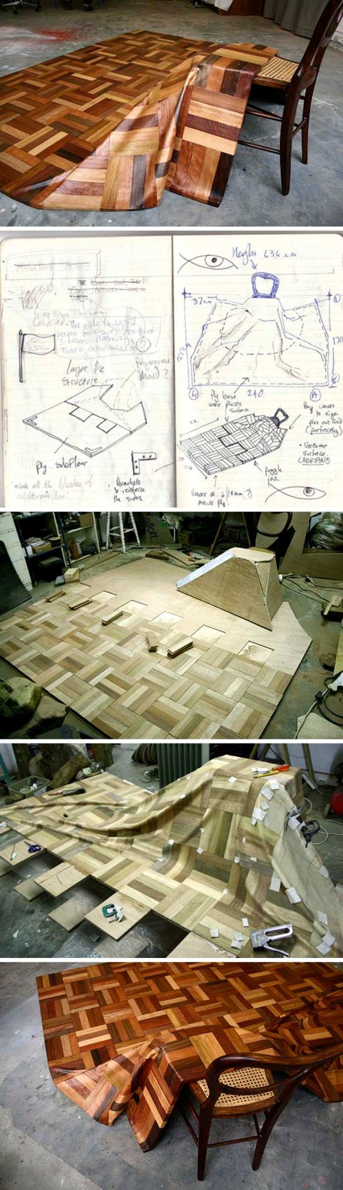 Parquetry, cool wood sculptural installation of a draped parquet floor over a chair by Daniella Mooney