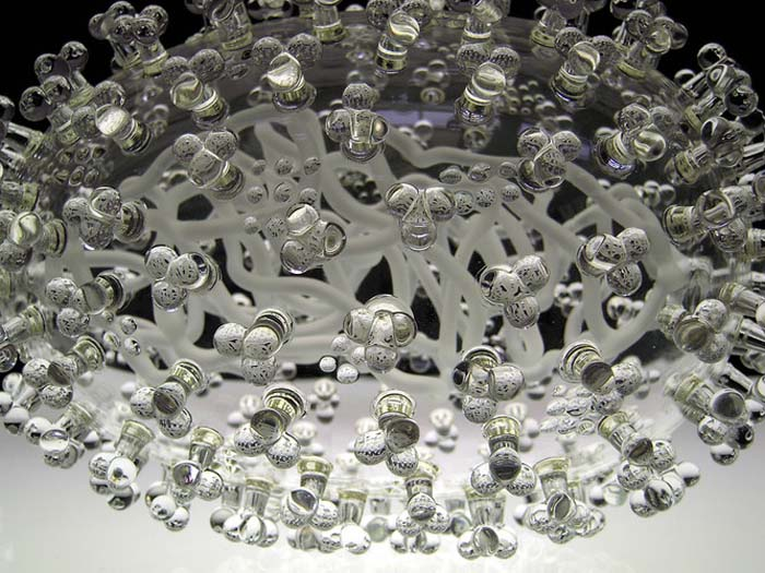 Glass Microbology sculptures, infectious diseases as beautiful glass objects, Luke Jerram