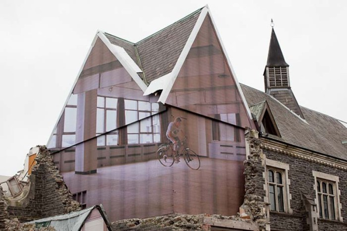 Public art installation in New Zealand. Trompe l'oeil, art on destined for demolition architecture, Mike Hewson