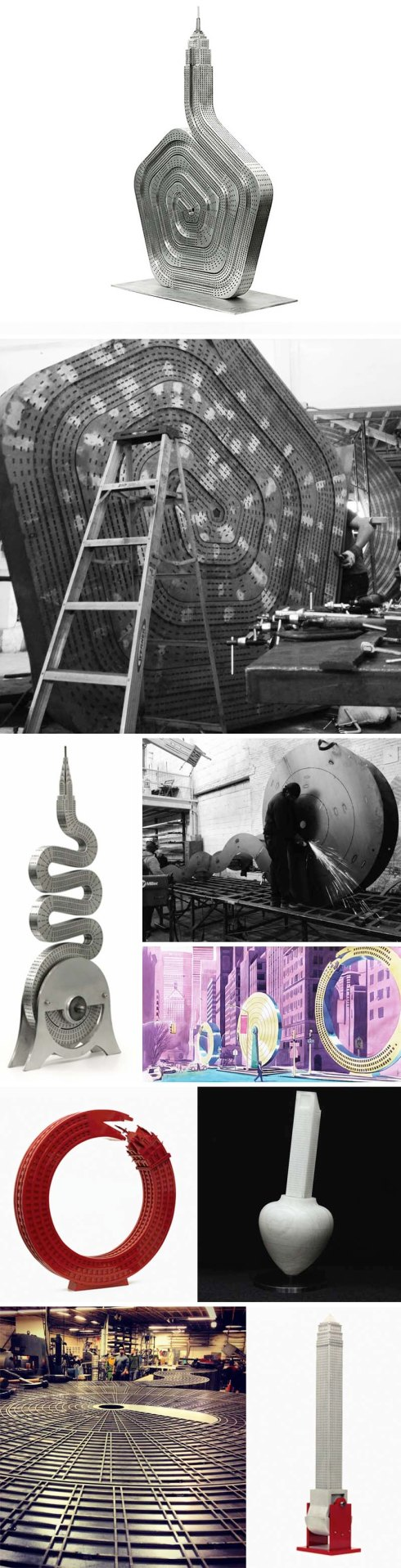 No Limits on Park Avenue Mall, Sculptures of Iconic NYC Buildings by Alexandre Arrechea, whimsical contemporary sculpture, MagnanMetz