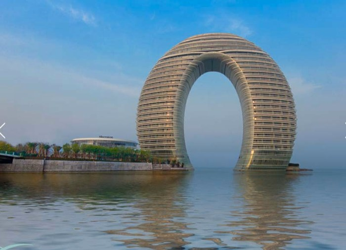 Contemporary hotel architecture, Contemporary Chinese Architecture, MAD architects, horshoe structure, cool hotel exterior