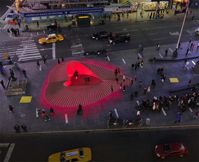 Valentine's Day 2013 Installation by Situ Studio in Times Square, Duffy Square. Heartwalk.