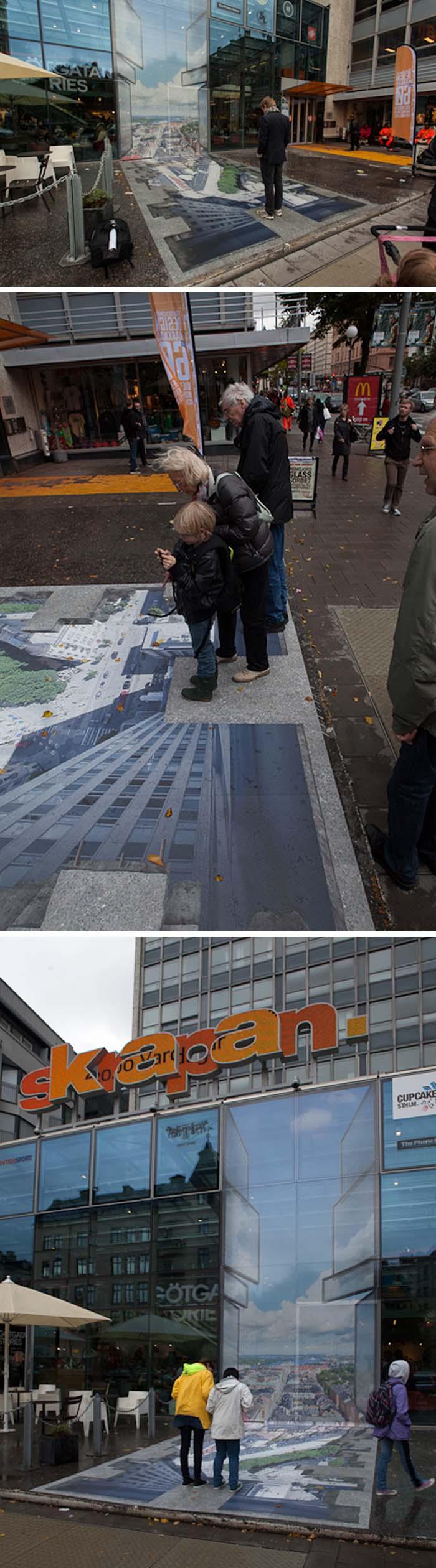 Erik Johansson, anamorphic art illusion in Sweden, Skrapan.Trompe l'oeil