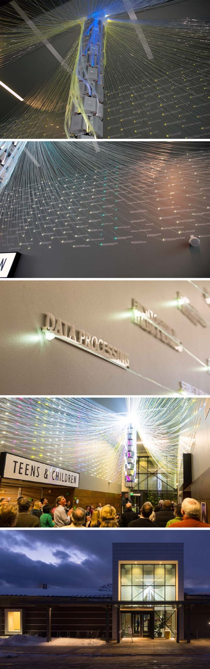 Filament Mind, data visualization installation at Teton County Library, Wyoming, by E/B Office, information graphics, optical fibre