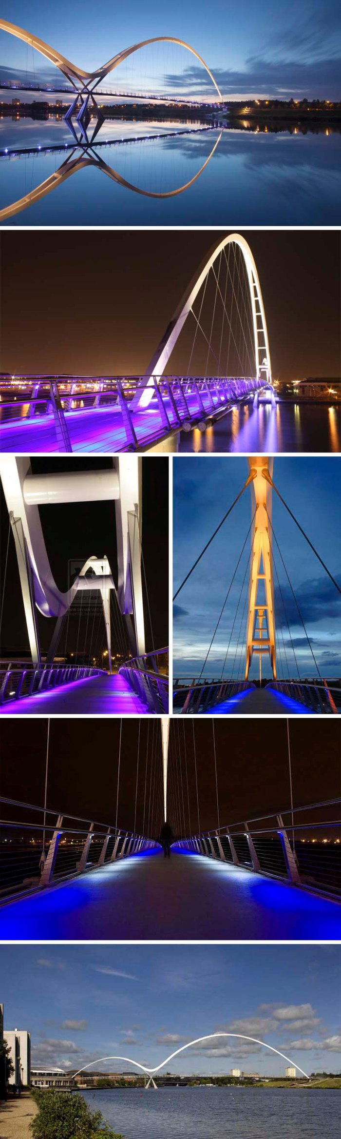 Infinity Bridge in Stockton-on-Tees, UK designed by Expedition Engineering and interactive lighting design by Speirs and Majors.
