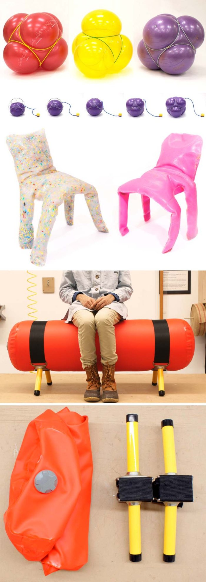 Fun furniture design by Jamie Wolfond, Industrial design, inflatable and foam stools, chairs, bench Emergency Bench, Frumpy Chairs, Ball Ottoman