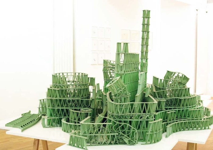 Jeremy Laffon, structures and sculptures made with chewing gum sticks, hollywoodoscopies, French contemporary art