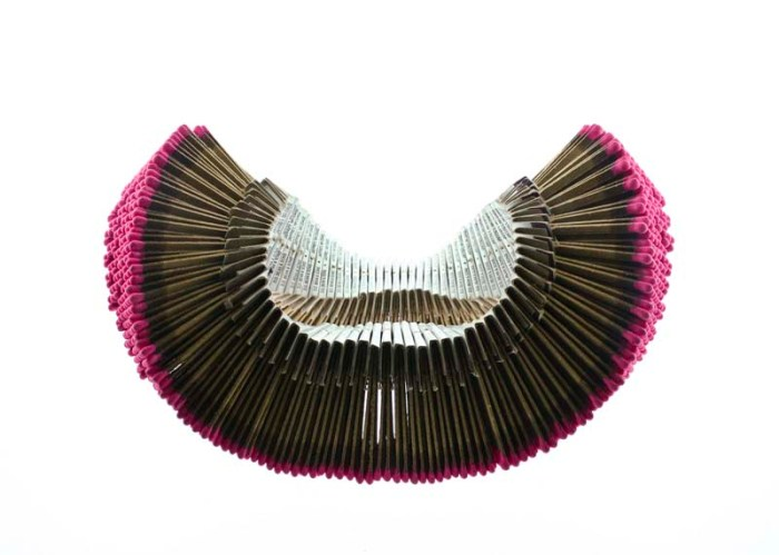 Matchstick Necklace by Joseph Escobar, RISD ID, cool jewelry concept, jewelry made with matchstick packs