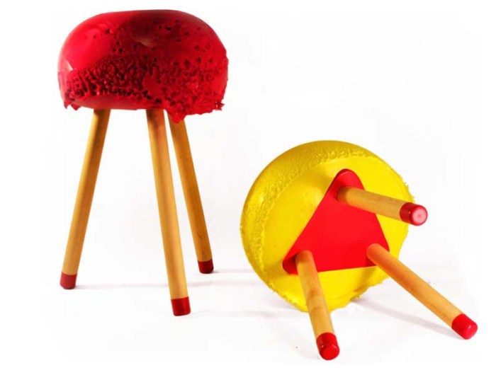 Fun furniture design by Jamie Wolfond, Industrial design, inflatable and foam stools, chairs, bench