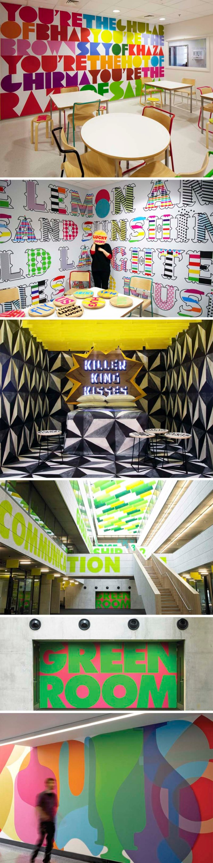 Morag Myerscough, Studio Myerscough, Typography, fun environmental graphics, bold colored type murals