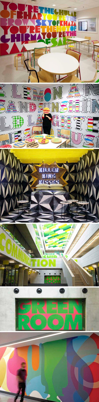 Morag Myerscough, Studio Myerscough, Typography, fun environmental graphics, bold colored type murals