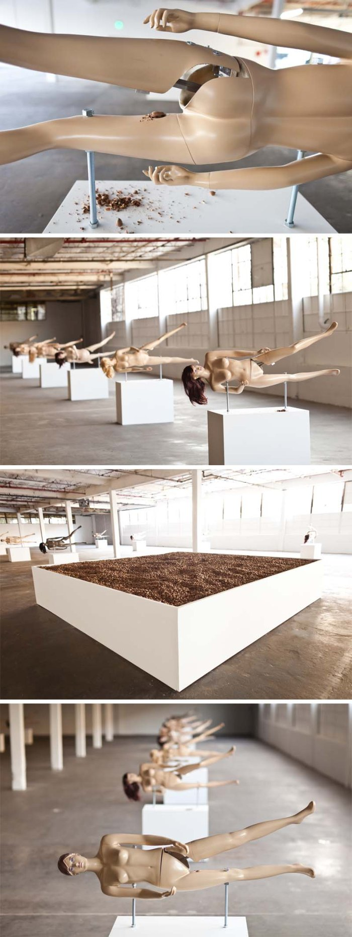 Contemporary participatory art installation of Nutcrackers made with mannequins by Jennifer Rubell, humorous art