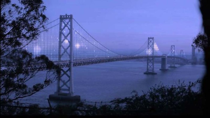 2-year light show installation by Leo Villareal on the San Francisco Bay Bridge