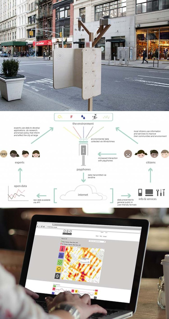 NYC Digital, Reinventing Payphones Challenge, Windchimes, environmental sensor stations