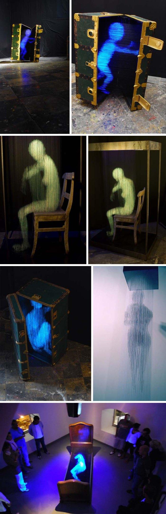 Alessandro Lupi, 3D Light sculptures, Fluorescent Densities, backlit threads, cool art