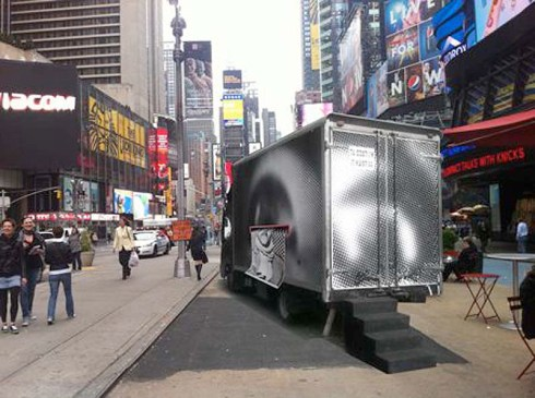 JR, street art, Inside Out Project Truck in Times Square, Public Art, Participatory Art, Black and White Self Portraits