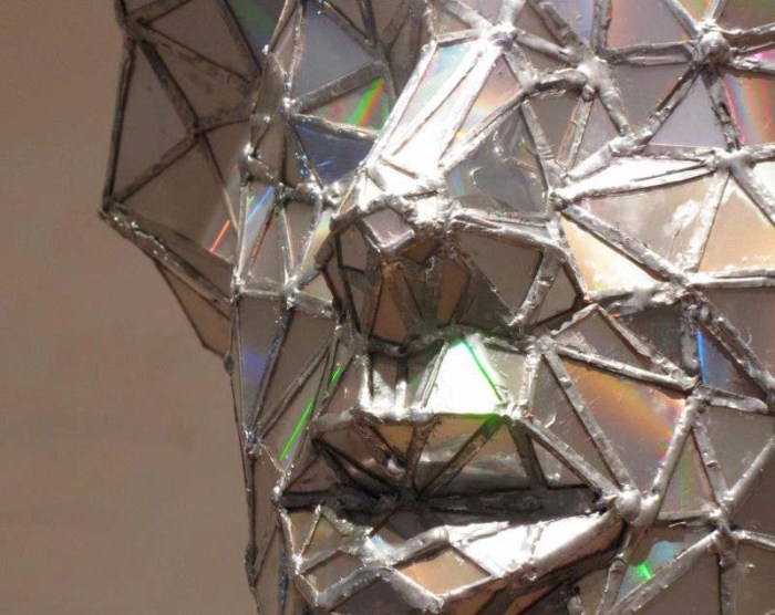 Sculpture made with upcycled cds, Jim Hake, The Crystals, doo-wop singer sculpture made with welded cds, cool art