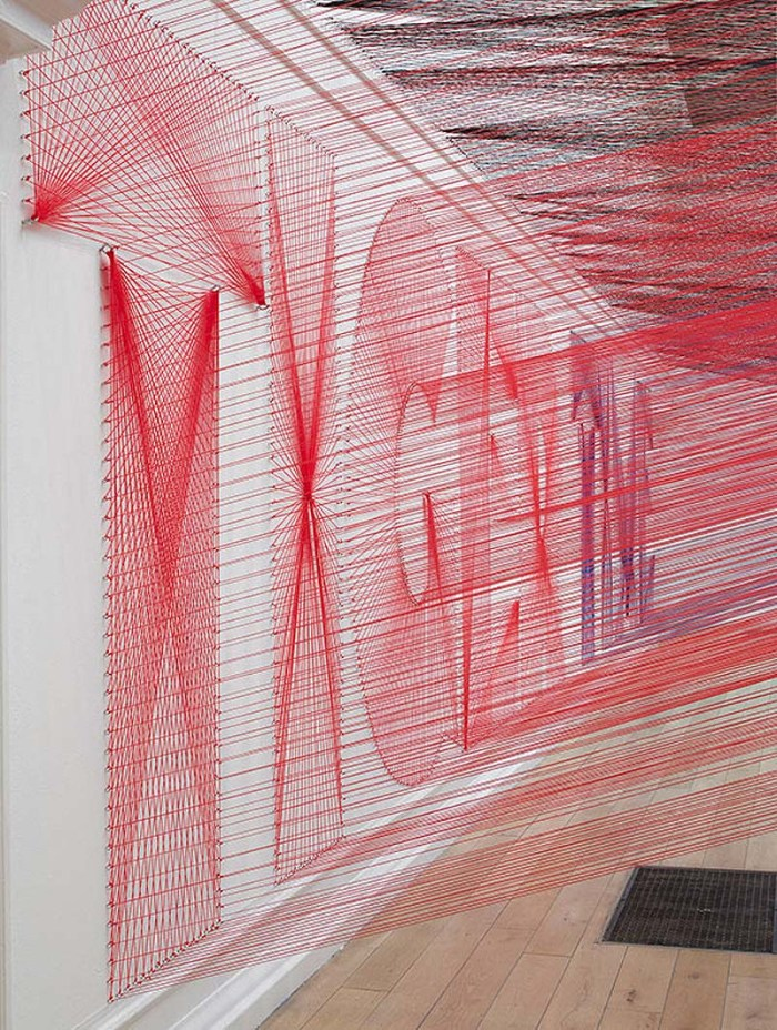Cool Typography Installation using 48km of thread by Pae White at South London Gallery