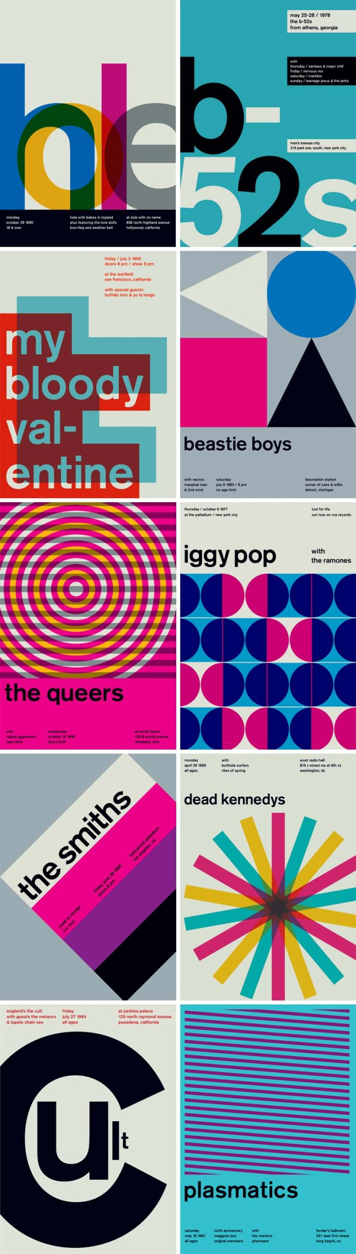 Swissted, Mike Joyce, Graphic Design, typography,Redesigning old punk, hardcore, and indie rock show flyers into Swiss modern posters