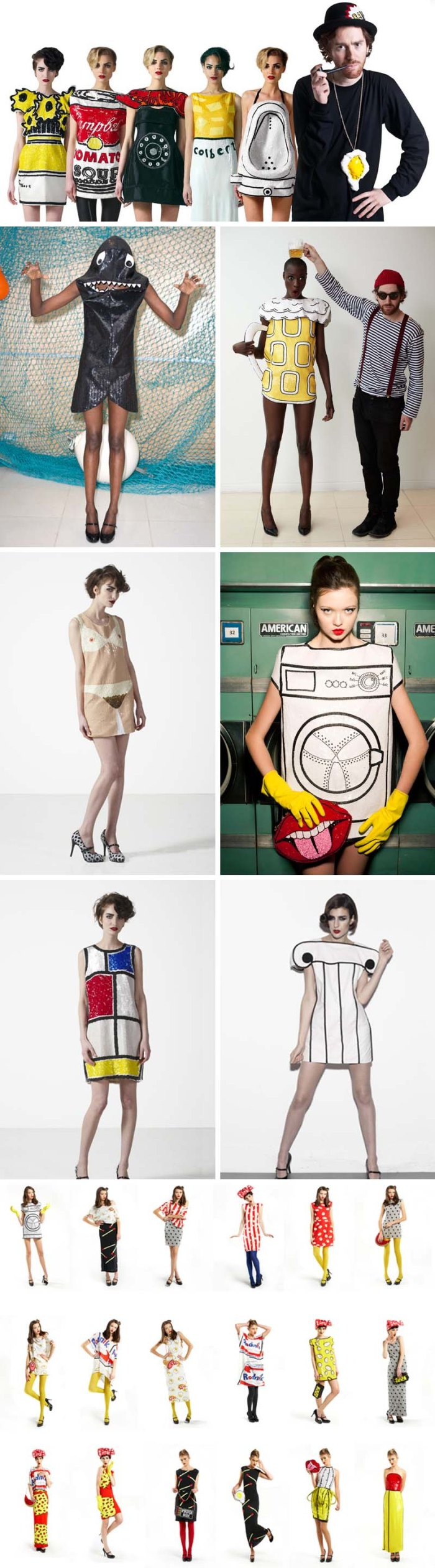 Pop Art dresses, crazy fun fashion, The Rodnik Band by Philip Colbert
