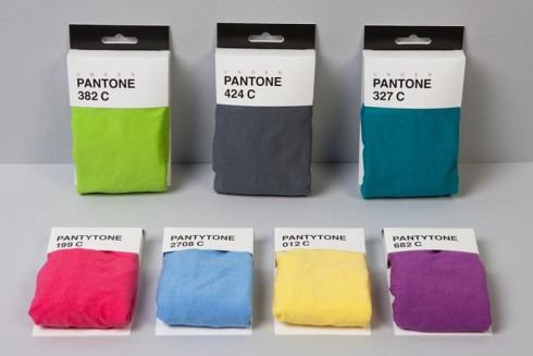 Pantone products, underpants, pantone boxers and panties, underpantones, pantytones, packaging, Mark Design Studio