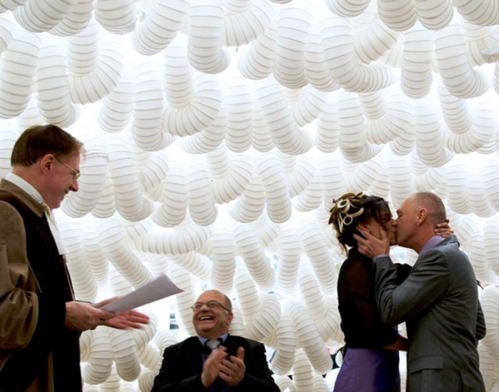 Wedding Chapel Villa Escamp by Dus Architects, 2kms ventilation tubes crocheted together to create a dome in the Netherlands