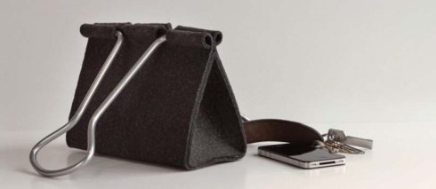 Clip bag by Peter Bristol, Binder Clip as bag. Fun pocketbook, Cool industrial design, fun fashion accessory, clever gift
