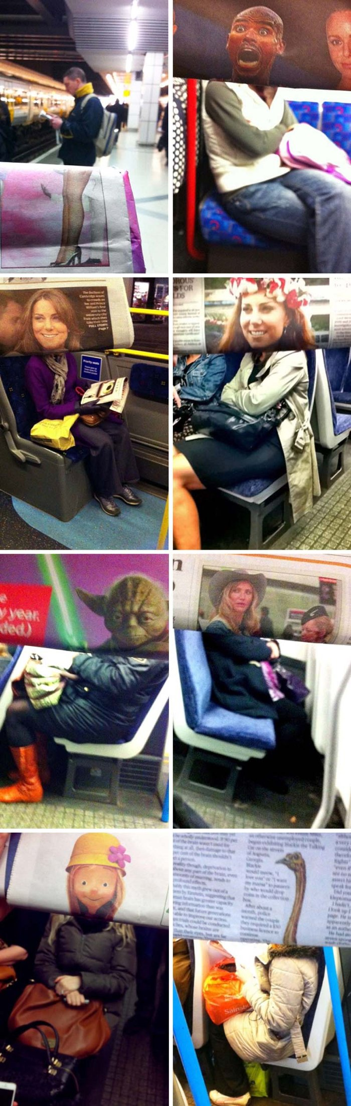commuter photobombs other commuters with newspaper images, goofy photos, fun photos, humor, celebrities