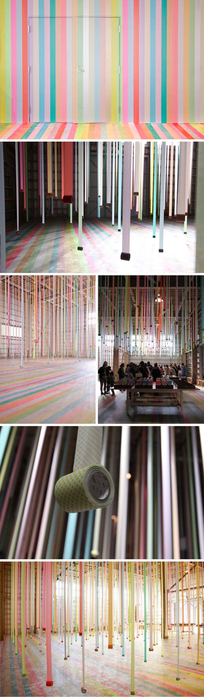 Koji Iyama, Iyama Design, colorful masking tape installation for mt tape in Sendai, Japan