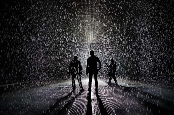 rain room at MoMA, X1, immersive installation of rain that doesn't get you wet, cool art,